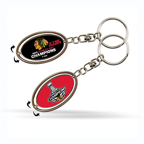 Rico Chicago Blackhawks Official NHL 2 inch Metal Spinner Key Chain Keychain by ()