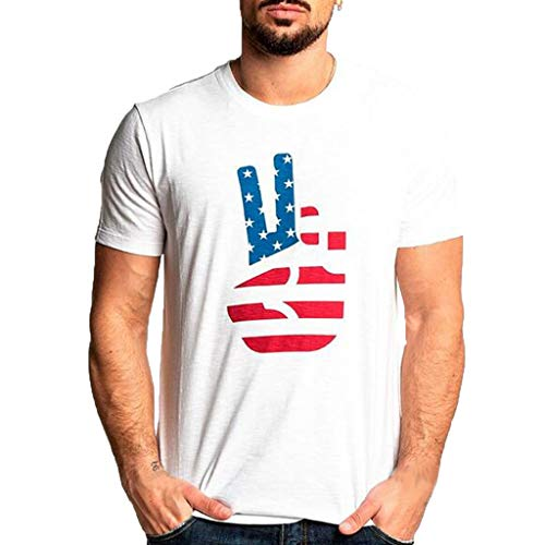 (Men's Summer New Independence Day Printed Short Sleeves Fashion Blouse Top White)