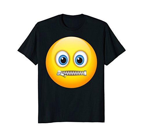 Zipper-Mouth Face Emoji Costume T-Shirt- halloween -
