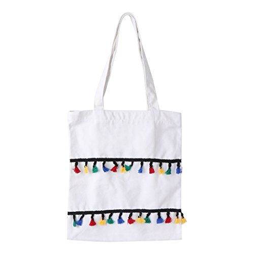 Tote White Large Women Canvas Handbag black Shopping WHITE Zipper Bag zobeen Shoulder Vintage Hobo Tassel 61qRWnBz