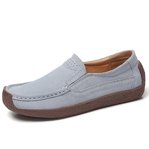 41 Mujeres de Gran Zapatos de Mocasines Gris EU tamaño Azul Color tamaño Cuero cómodos Qiusa qfTYOwqt