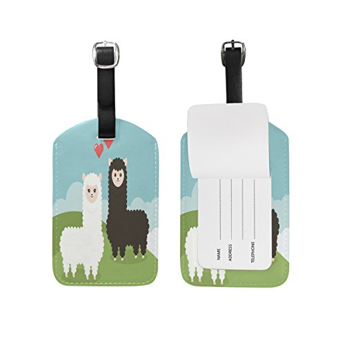 Alpacas Couple Luggage Tags Travel Leather Strap Baggage Label Tag (2 Pcs) by XiaoCeng