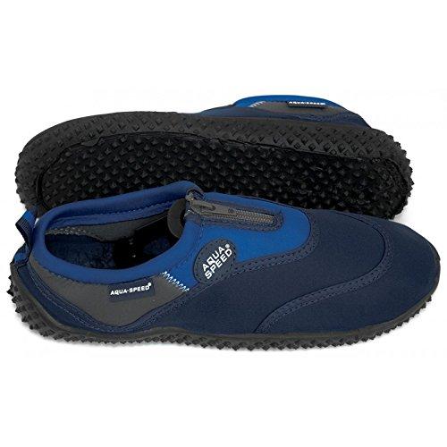 AQUA-SPEED® BEACH-BOY Zapatos Aguamarina (Hombre Kayak Buceo Piscina Natacion) Azul oscuro / Azul - 4
