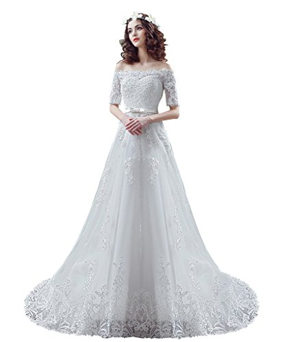BoShi Women's Lace Off the Shouler Bride Court Train Wedding Dresses US 10 by Unknown