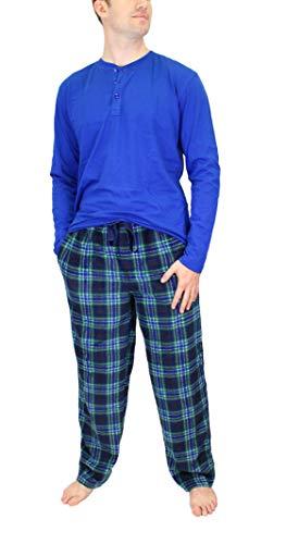 Izod Jersey Top - IZOD Men's Microfleece Pant & Jersey Henley Pajama Set, Green/Blue, X-Large