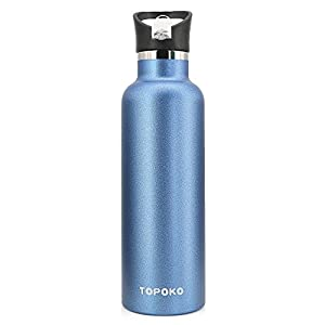 25 OZ Vacuum Insulated Stainless Steel Double Wall, Sweat Proof, Leak Proof Thermos Hot Cold Water Bottle / Wide or Small Mouth, Vacuum Seal Cap, Reusable Travel Mug. (blue straw lid)