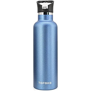 TOPOKO 25 OZ Hydro Double Wall Flask Stainless Steel Water Bottle, Standard Mouth Straw Lid with Handle, Vacuum Insulated, Sweat Proof, Leak Proof Thermos Flask-Blue
