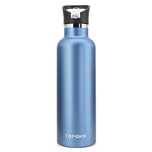TOPOKO 25 Ounce Flip Top Spout Straw Lid Double Wall Stainless Steel Water Bottle Vacuum Insulation Bottle Leak Proof Bottle,BPA free-Blue