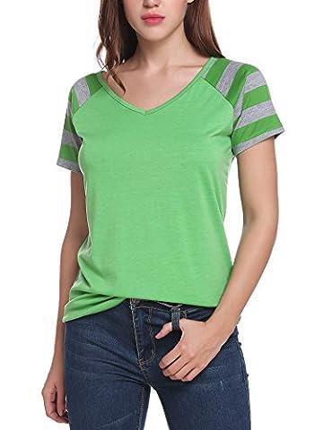 Elesol Women V Neck Striped Short Raglan Sleeves Tee Shirt Green S - Short Raglan Sleeve