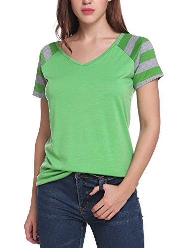 Ladies T-shirt Raglan Green (ELESOL Women V Neck Striped Short Raglan Sleeves Tee Shirt Green S)