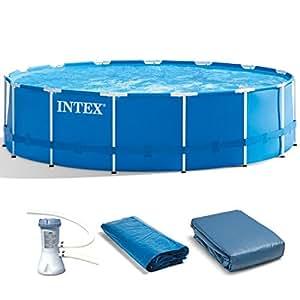 Intex metal frame pool set 15 feet by 48 inch for Frame pool obi