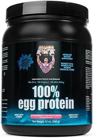 Healthy N Fit 100 EGG PROTEIN- Strawberry 12oz 100 Egg White Protein PLUS Natural Peptides. The Highest Quality, Purest, Most Effective, All Natural Protein.