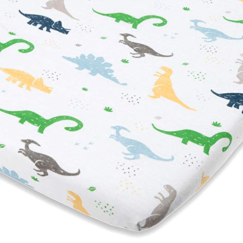 Dinosaur Bassinet Sheets - Fitted Sheets for Chicco Lullago, Halo Bassinet, Arms Reach Co Sleeper MiClassic and Other Oval, Rectangle Basinette -  Natural Jersey Cotton - Ultra -