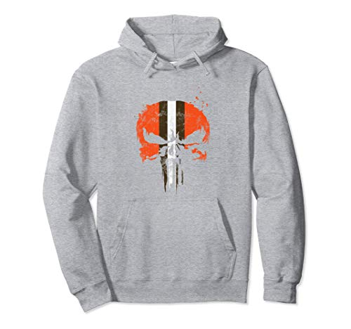 (Football Helmet Skull Orange Brown & White Pullover Hoodie)