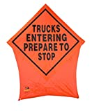 Trucks Entering Prepare to Stop Portable Safety Construction Pop Up Road Sign