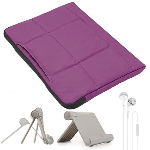 VanGoddy Soft Padded Microfiber Lined Grape Purple Pillow Sleeve w/Headphones & Multi Angle Stand for Vulcan Traveler 10.1