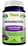 100% Pure Resveratrol - 1000mg Per Serving Max Strength (180 Capsules) Antioxidant Supplement