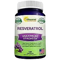 100% Natural Resveratrol - 1000mg Per Serving Max Strength (180 Capsules) Antioxidant...