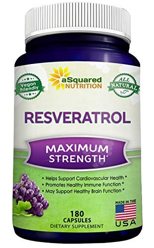 100% Pure Resveratrol - 1000mg Per Serving Max Strength (180 Capsules) Antioxidant Supplement Extract, Natural Trans-Resveratrol Pills for Heart Health & Weight Loss, Trans Resveratrol for Anti-Aging (Ease 180 Acid Capsules)