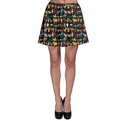 CowCow Women's Christmas A-line Skirt Vintage Reindeer Character On Skater Skirt