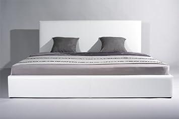 Bett weiß leder 180x200  Polsterbetten-Bettgestell Luxus Kingsize Lederbetten Modell weißes ...