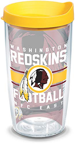 Tervis 1181959 NFL Washington Redskins Gridiron Tumbler with Wrap and Yellow Lid 16oz, Clear