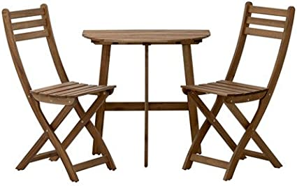 Ikea Sedile Wc Askholmen Semicircolare Tavolo 2 Sedie In Legno Massiccio Di Acacia Verniciato Grigio Marrone Amazon It Casa E Cucina