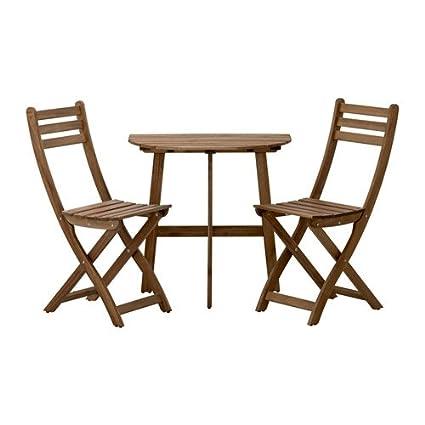 Ikea Sillas askholmen mesa semicircular + 2 sillas de madera ...