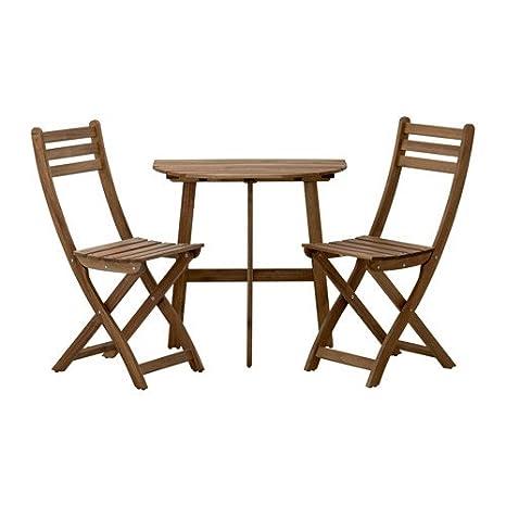 Ikea Sillas askholmen mesa semicircular + 2 sillas de madera de acacia maciza, color gris y marrón: Amazon.es: Hogar