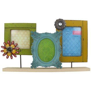 Green Tree Gallery 3 Decorative Frames on a Stand, Green, Aqua, and Yellow, 15 1/2 x 10 inches