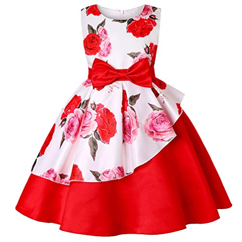 Girls Birthday Floral Dress Kids Party Princess Pageant Flower Wedding Toddler Formal Bridesmaid Holiday Red Dresses]()