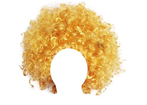Unisex Clown Wig Circus Funny Fancy Party Dress Accessory Afro Stag Do Fun Joker (Gold)