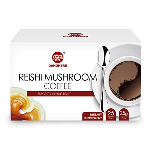 Ganoderma Lucidum Coffee - GANOHERB Ganoderma Lucidum Coffee 2 In 1 Instant Black Coffee Lingzhi, Delicious,Nutritious And Flavorful With 100% Certified Organic Reishi Mushroom Spore And Extract