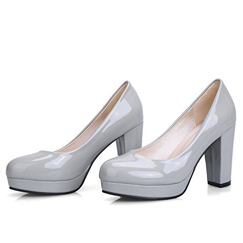 Gray Block Toe On Round TAOFFEN Women Classic High Slip Shoes Closed Pumps Heel Aqx1a7w