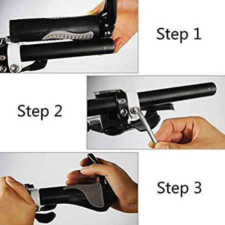 Suitable for 22.2mm Bike Handlebar with Free Grips Wrench PRUNUS Ergonomic Design Rubber MTB Mountain Bike Handlebar Grips with Bar Ends Horns