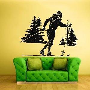[Wall Decal Sticker Bedroom skiing ski sport snow mountains nursery boy bo2693] (Diy Snow Globe Costume)