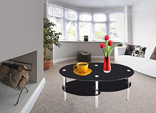 Prettyshop4246 Fishtail Style Tempered Glass CoffeeTea Table Living Room Home Office Hotel Indoor Outdoor 3 Tiers Sturdy Strong Glasses Top Table Black Color