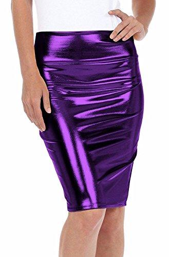 Size 42 Fashion Jupe PVC Liquide Violet Haute Moyenne Brillant Top Jupe Taille Wetlook Cuir EU mtallis Taille Femmes 36 A0wtvtqTdZ