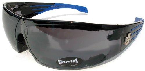 Choppers Sunglasses 022 Black Blue Frame Smoke - Sun Chopper Glasses