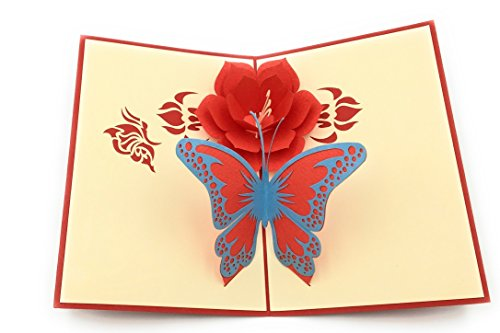 Perfect wedding & anniversary gift - Handmade 3D pop-up card with a romantic design of a