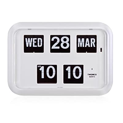 Homeloo Twemco German Quartz Retro Modern Calendar Wall Flip Clock QD 35 (white) - •Twemco clocks are manufactured with the highest quality and reliability. •Clock manufactured from injection molded ABS case and clear acrylic glass cover. •Automatic calendar system. Self-regulating even for leap years' february only. - wall-clocks, living-room-decor, living-room - 41N29FjRMKL. SS400  -