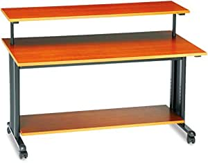 Safco 1928CY Extra Wide Adjustable Height Workstation, 48w x 25d x 41-1/2h, Cherry PVC Top
