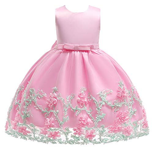 Party Dresses for Girls Silk Chiffon Bow Tie Baby Tutu Lace Ball Gown Wedding Sleeveless Flower Girl Dress Pink