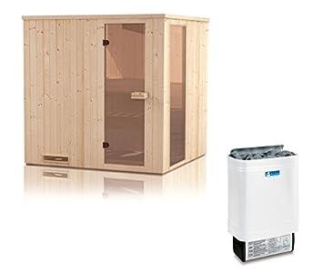 Element Sauna arena 60 mm con ventana y techo Corona de incluye 8 kW estufa para