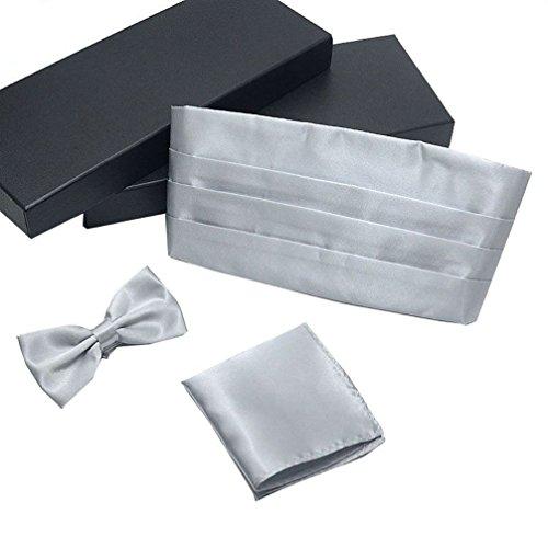 Silver Cummerbund Set (AWAYTR Formal Solid Pre-tied Bow Tie & Pocket Square & Cummerbund Set (Silver))