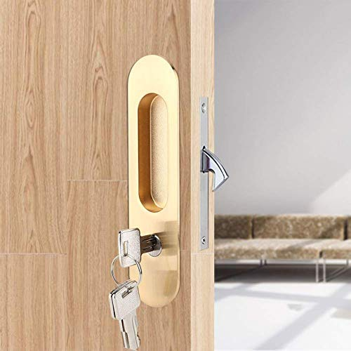 Zinc Alloy Invisible Sliding Door Latch Locks with 3 Keys for Bathroom Kitchen Balcony(Gold)