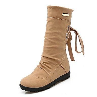 Boots EU35 CN34 RTRY Shoes Fashion Platform Toe UK3 Wedge Winter Fall Strap For Calf Snow Round US5 Ankle Leatherette Up Mid Lace Heel Boots Women'S Boots Boots ppwHqSF