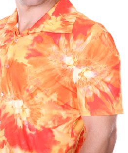 JWalking Designs Men/'s Button-Down Collared Running Shirt Orange Hawaiian Print