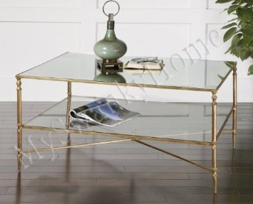 Elegant BARSTOW Coffee Table Glass Iron MINIMALIST