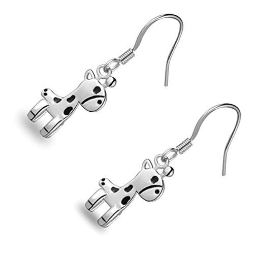 Giraffe Silver Plated - GWG Sterling Silver Plated Black Dotted Giraffe Shaped Drop Earrings for Women